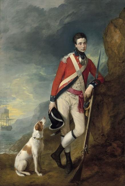 Painting of Richard St.  George by Thomas Gainsborough (1776).  English artist Thomas Gainsborough painted this striking oil painting of a young St.  Ge orge in 1776 , just before he shipped out for New York to fight against the growing American Revolution.