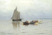 "At the Wayside Inn Antiques Show, Vose Galleries sold this Marshall Johnson , Jr.  (1850-1921), ""Bringing in the Catch."" Oil on canvas, 14 x 20 inches.  Signed Lower Left: Marshall Johnson Jr."