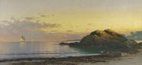 Alfred Thompson Bricher (1837-1908) New England Coast, c.  1890.  Oil on canvas 15 1/4 x 33 inches.  Signed at lower right,: ATBricher.  Gavin Spanierman Ltd.