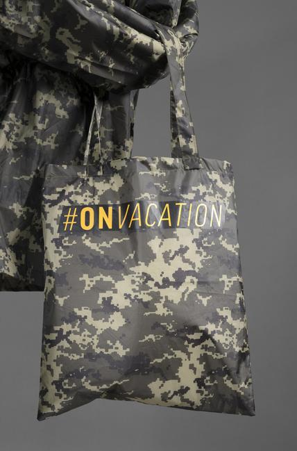 Anonymous Ukrainian artists, Tote bag from #ONVACATION, an Unsanctioned Project of the 56th Venice Biennale, 2015.  15 1/4 × 13 5/8 in.  Clark Art Institute Library, Venice Biennale Ephemera Collection