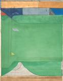 Richard Diebenkorn, Green, 1986.  Color aquatint, spit bite aquatint, soap ground aquatint, and drypoint on Somerset paper, ed.  60.  Image: 45 x 35 3/8 inches; Sheet: 53 3/4 x 40 3/4 inches.  Published by Crown Point Press.  Fine Arts Museums of San Francisco, Crown Point Press Archive, Gift of Crown Point Press.  ©The Estate of Richard Diebenkorn.  Image courtesy the Fine Arts Museums of San Francisco.