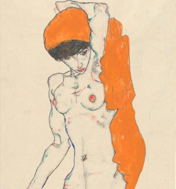 Egon Schiele (Austrian, 1890-1918).  Standing Nude with Orange Drapery (detail), 1914.  Watercolor, gouache, and graphite on paper, 18 1/4 x 12 in.  (46.4 x 30.5 cm).  The Metropolitan Museum of Art, New York, Bequest of Scofield Thayer, 1982