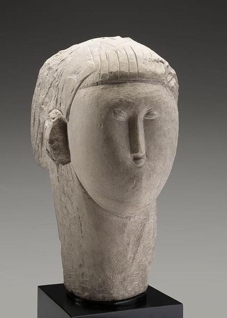 Amedeo Modigliani, Italian (1884–1920) Head, c.  1913.  Limestone, 20 5/8 x 9 3/4 x 14 3/4 in.  Collection of Kimbell Art Museum Given in honor of Ted and Lucile Weiner by their daughter Gwendolyn, 2017