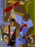 Jacob Lawrence, The Cabinet Maker, 1994.  Gouache on paper, 29  x 22 inches.