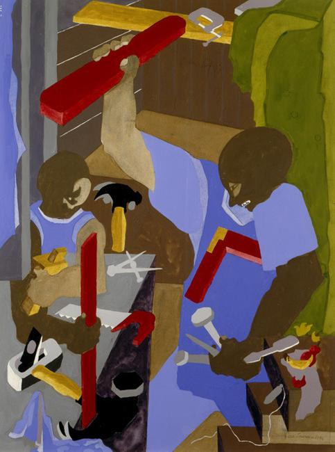 Jacob Lawrence, The Cabinet Maker, 1994.  Gouache on paper, 29 ¾ x 22 inches.