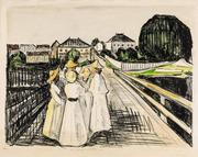 Edvard Munch 1863-1944 ON THE BRIDGE, 1912-13, hand colored lithograph on laid paper.