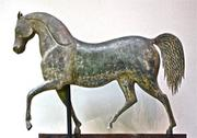 """Index Horse"" weathervane, attributed to J.  Howard & Co., Bridgewater, Massachusetts, ca.1850, copper and cast zinc, 20 x 24 inches, Private Collection."