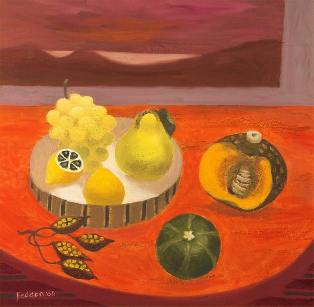 MARY FEDDEN (1915 - 2012) Still Life with Pear, Melon and Grape, 2006 Oil on canvas Size: 50.00 cms x 50.00 cms (19.69 ins x 19.69 inches) Signed lower left