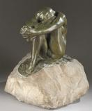 Auguste Rodin (French, 1840-1917), circa 1905 lifetime casting 'Le Desespoir' (Despair), green-patinated bronze and carved marble, signed 'A.  Rodin' on top of base with raised 'A.  Rodin' on underside of bronze, 13¾in high x 12in wide x 11in long.  Authenticated by Comite Rodin, Paris.  Est.  $60,000-$80,000.