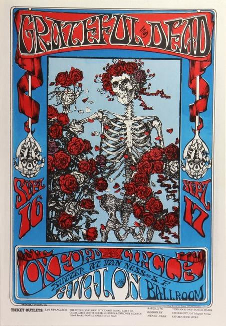"""Skeleton and Roses,"" created for the Grateful Dead's 1966 concert at the Avalon Ballroom in San Francisco, brought $19,000."