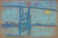 """Nocturne: Battersea Bridge"" by James McNeill Whistler 1872—1873.  Pastel on brown paper.  H x W: 18.4 x 28.1 cm (7 1/4 x 11 1/16 in)"
