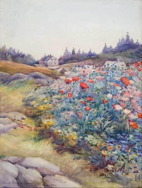 Maud Briggs Knowlton, Monhegan Shore Flowers, 1921, Watercolor on paper, 16 1/4 x 12 1/8 in., Anonymous Lender.)