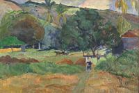 Paul Gauguin, Le Vallon, Tahiti.  Oil on canvas, 1892.  Signed lower left, 42 x 67.5 cm.  Estimate: £5.5-8.5 million (US$9-14 million).