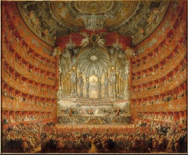 Giovanni Paolo Panini, Italian, 1691–1765, The Musical Performance in the Teatro Argentina in Honor of the Marriage of the Dauphin, 1747.  Oil on canvas, 205 x 246 cm (80 11/16 x 96 7/8 in.) Paris, Musée du Louvre, Département des Peintures.  Image © RMN-Grand Palais / Art Resource