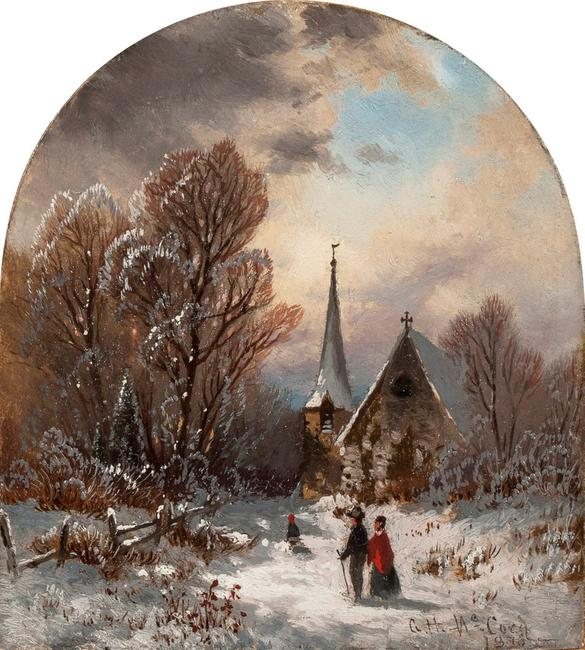 GEORGE H.  MCCORD (1848-1909), Christmas, 1873.  Oil on card, 6 x 5 1/8 inches.  Signed and dated 1873, lower right.