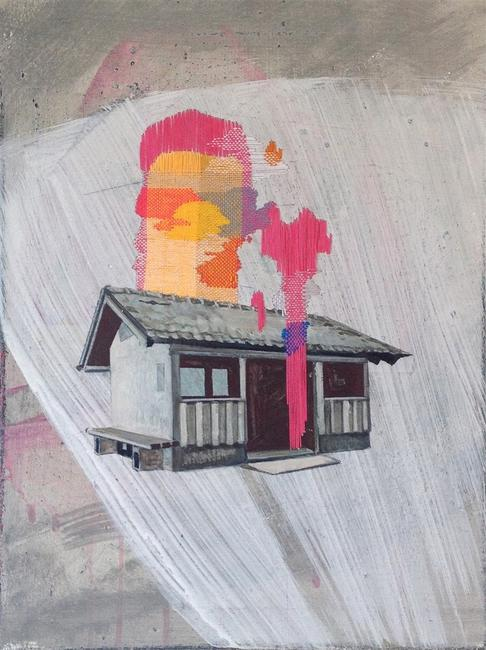 Meike Lohmann, Shelter, Mixed Media with Embroidery on Canvas, 15.75'' x 11.81''