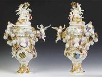 This magnificent pair of antique Meissen covered urns sold as a single lot for $201,250.