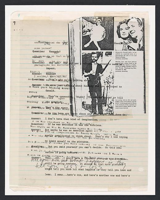 Lutz Bacher (American, born 1943).  The Lee Harvey Oswald Interview (detail), 1976.  Collage in 18 parts, 11 x 8 ½ in.  (27.9 x 21.6 cm) each.  The Metropolitan Museum of Art, New York, Purchase, The Horace W.  Goldsmith Foundation Gift, through Joyce and Robert Menschel and Anonymous Gift, 1999.  Courtesy of the artist and Greene Naftali, New York