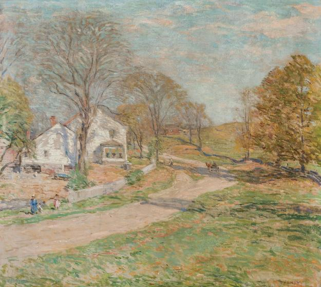 "WILLARD LEROY METCALF, American (1858-1925), ""The Road That Leads Home,"" oil on canvas, signed, 26 x 29 1/4 inches, Estimate:$200,000-300,000"