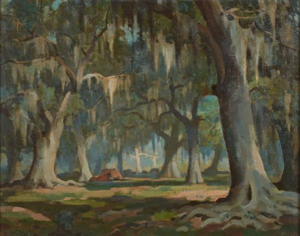 Original oil painting by Clarence Millet (La., 1897-1959), titled Moss-Laden Oak Trees, signed lower left (est.  $4,000-$6,000).
