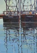 "Dora Atwater Millikin ""Wharfage"" oil on linen, 40 x 28 inches."