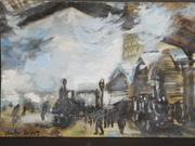 The expected top lot of the auction is this tempera on paper work attributed to Claude Monet (Fr., 1840-1926), titled Study for Gare Saint-Lazare (est.  $100,000-$160,000).