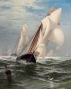 "EDWARD MORAN, American (1829-1901), ""The Winning Yacht,"" oil on canvas, signed lower left Edward Moran, 40 x 32 inches, Estimate:$40,000-60,000"