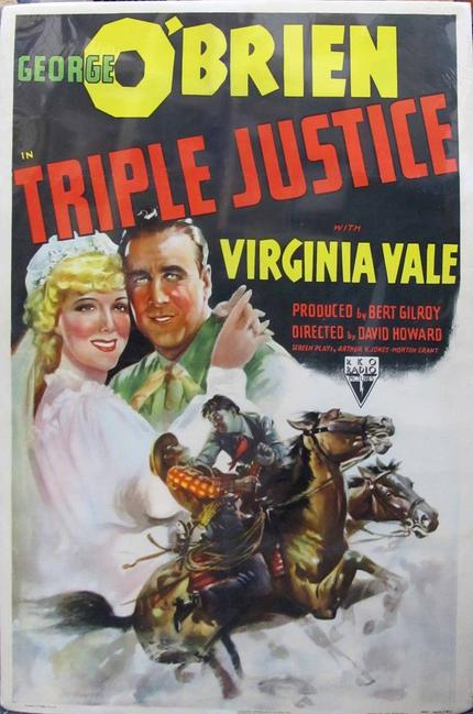 One-sheet original poster from the 1940 Western movie Triple Justice, 27 inches by 41 inches (est.  $500-$1,000).