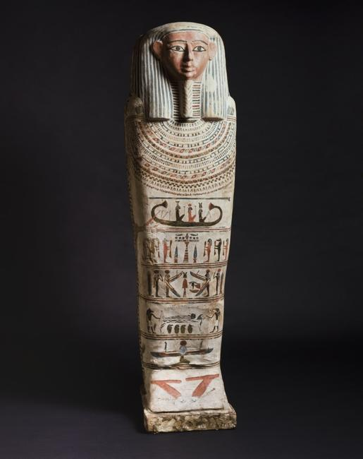 Egypt, Mummy Sarcophagus, Ptolemaic period, 332-30 BC, wood with painted decoration in tempera over linen and gesso, Cincinnati Art Museum, Gift of Millard F.  and Edna F.  Shelt, 1947.275