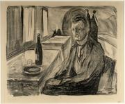 Edvard Munch (Norwegian 1863-1944) Self-portrait with a Bottle of Wine, 1930 Lithograph 16 ½ x 20 ¼ inches, Broda collection
