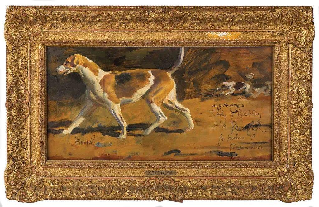 Painting by Sir Alfred James Munnings titled Study of a Hound, from Stanley Barker and the Pytchley hounds (est.  $20,000-$40,000)