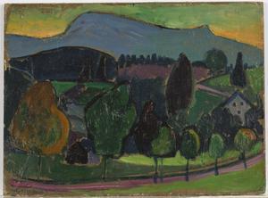 Gabriele Munter(German, 1877-1962), Der Blaue Berg (The Blue Mountain), Oil on Board, 1908, Height 10 1/8 in.  x Width 13 5/8 in.,