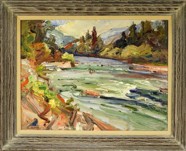 Oil on canvas landscape by Mychajlo Moroz (Ukrainian, 1904-1992), showing the Esopus Creek along the east side of the Catskill Mountains, one of three works by Moroz in the auction ($2,000).