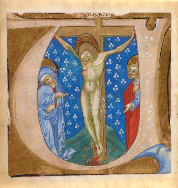 Illuminations could be cut from manuscripts and sold as individual works.  [Crucifixion Scene, extracted from illuminated manuscript, ca.  1300-1350, Italy; Gift of Rachel Weller and Allen S.  Weller 2003-4-4.  Courtesy of Krannert Art Museum.]