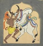 andalal Bose (1882-1966), Untitled (Bull Handler Haripura Poster) Tempera on Paper Estimate: $30,000-50,000 Executed in 1937; Commissioned by Mohandas K.  Gandhi for the Indian National Congress Party meeting 1938, Haripura