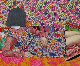 Naomi Okubo, Camouflage #3, 2017, acrylic on cotton cloth, 16×12 in
