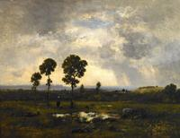 Narcisse Virgile Diaz de la Pena French, 1808-1876 La Mare au fin d'Orage (Marsh after a storm) Signed lower left: N Diaz Oil on cradled panel 11 3/16 x 14 5/8 inches (28.5 x 37 cm) 15 ¼ x 18 ¾ inches framed Schiller & Bodo European Paintings