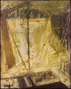 Frank Auerbach (born 1931) Shell Building Site from the Thames, 1959 Oil on board, 152.4 x 121.9 cm.  Museo Thyssen-Bornemisza, Madrid