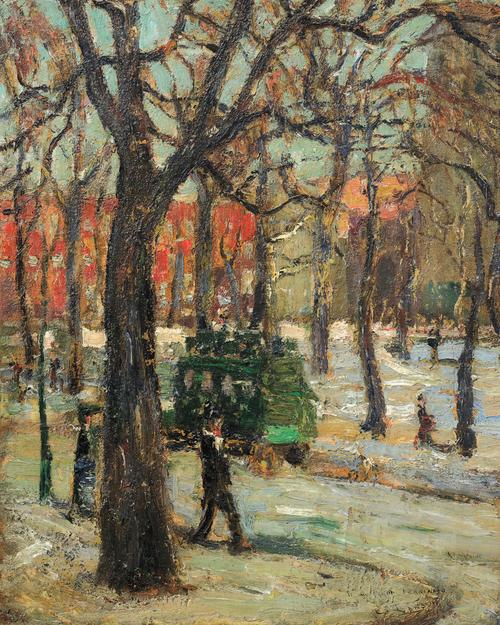 Ernest Lawson (1873-1939) Washington Square Park, c.  1910.  Oil on canvas, 20 x 16 inches.  Signed Lawson lower right.  Inscribed To my friend Ferdinand, E Lawson, lower right center.  Courtesy of Thomas Colville Fine Art.