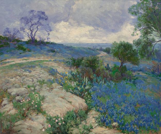 Texas Landscape with Bluebonnets – a newly discovered oil Julian Onderdonk – sold for $437,000 at Heritage Auctions.