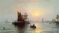 The top lot of the sale was this oil on canvas marine rendering by Edward Moran ($300,000).