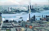 Georgia O'Keeffe, East River from the 30th Story of the Shelton Hotel, 1928.  Oil on canvas.  Selections from the collection of the New Britain Museum of American Art Stephen B Lawrence Fund