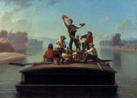 George Caleb Bingham (American, 1811–1879) The Jolly Flatboatmen, 1877–78.  Oil on canvas, 26 1/16 x 36 3/8 in.  (66.2 x 92.4 cm.) Terra Foundation for American Art Daniel J.  Terra Collection, 1992.15