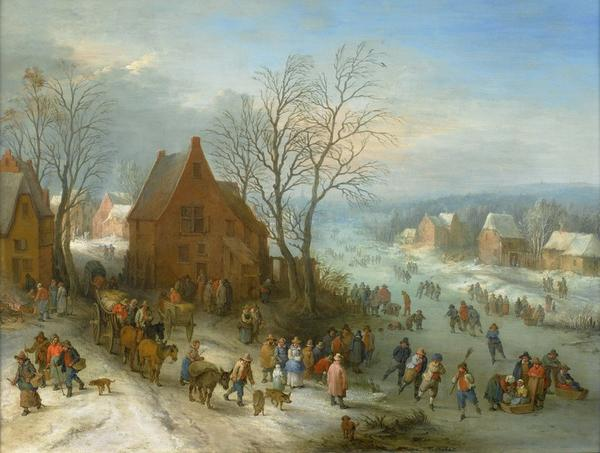 Winter joys by Theobald Michau (Tournai 1676-1765 Antwerp) Oil on copper, 47.5 x 64 cm.  Signed.  Brilliant example of his art as landscape painter in the tradition of Breughel.