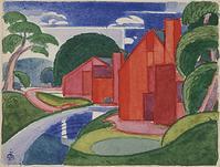 """From Debra Force Fine Art is Oscar Bluemner (1867–1938) Tars, Azlo """"Flach"""" Soho Fat Mill, 1920.  Watercolor on paper, 3.875 x 5 in."""