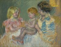 Mary Cassatt (1844–1926) Sara and Her Mother With the Baby, c.  1901.  Pastel on paper, 28 x 36 in.