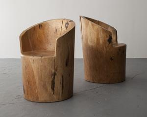 "Sculpted solid wood chairs.  Designed by Jose Zanine, Brazil, 1970s.  31"" H x 22"" D / 78.7cm H x 55.9cm D"