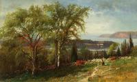 Julie Hart Beers (1835-1913) Hudson Valley at Croton Point, 1869.  Oil on canvas, 12 x 20 inches.  Collection of Nicholas V.  Bulzacchelli.