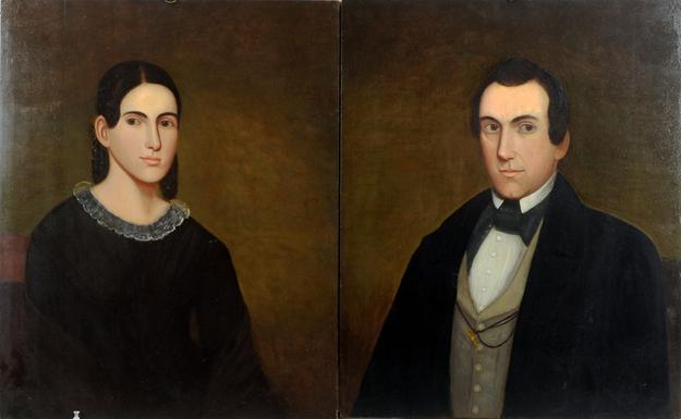 Pair of Belknap Folk Art Portraits