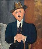 "The 1918 Modigliani painting, ""Seated Man With a Cane."""
